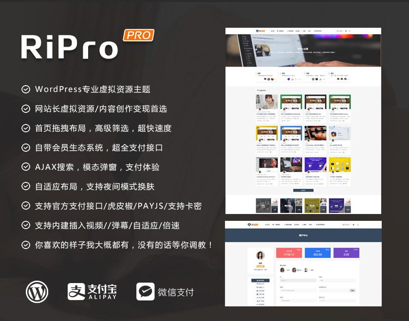 WordPress素材源码付费下载/会员制主题RiPro WordPress主题-第1张